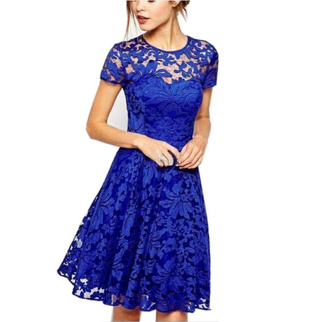 5xl Plus Size Dress Fashion Women Elegant Sweet Hallow Out Lace