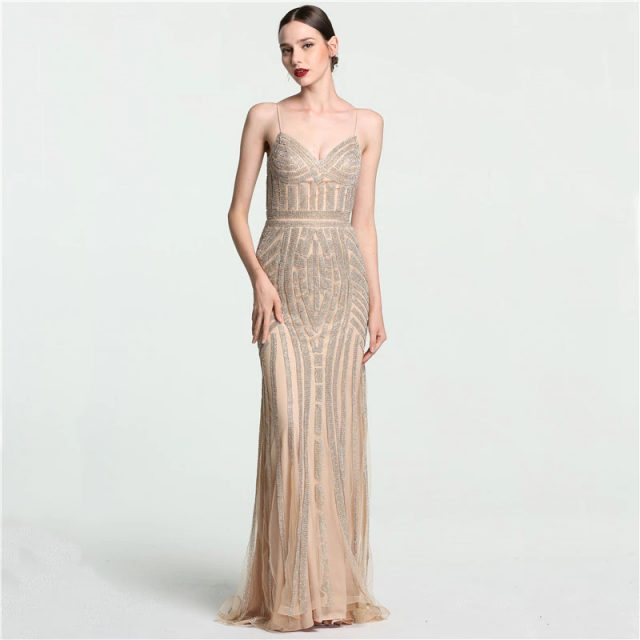 2f65043fe61 Fleepmart fashion 2019 Robe De Soiree Diamond Evening Party Dress Nude Grey  Sliver Party Occasion Formal Long Evening Dress Plus Size LA6002
