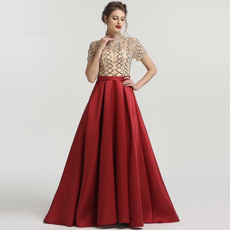 d0b9a3eff68bc Fleepmart fashion Wine Red High Collar Fashion Evening Dresses Short Sleeve  Luxury Beading Sequined Evening Gown 2019 Serene Hill LA6568