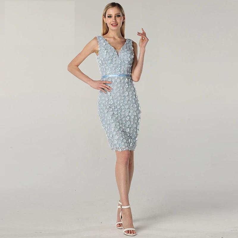 1d7d9f15c43f8 Blue V-Neck Sleeveless Sexy Cocktail Dress Handmade Flowers Pearls Fashion  Elegant Evening Gowns 2019 Serene Hill fleepmart fashion