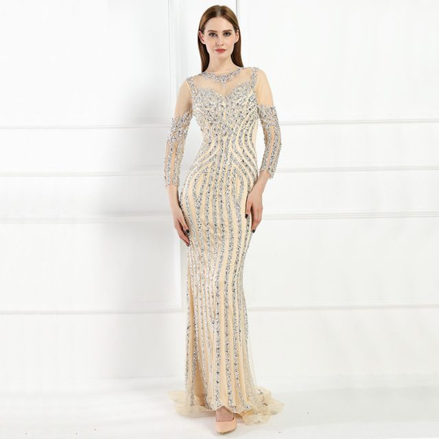 13dfd6cf8 Luxury Long sleeves Sexy Diamond Sequined Mermaid Evening Dresses Sparkly Evening  Gown 2019 Real Photo LA6078 Plus Size