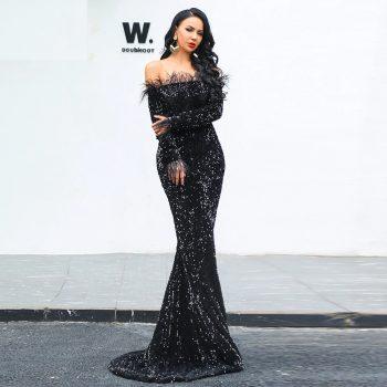 644d5bd53e2c 2019 Sexy Off Shoulder Feather LongSleeve Sequin floor length Evening party  Maxi Reflective prom Dress Vestdios