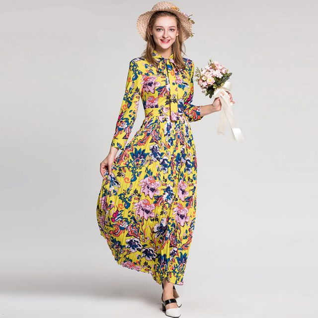 Fleepmart Boho Holiday Newest Women Dresses European Full Sleeve Bow Fashion 2018 Floral Dress Summer Yellow Pleated Print Long Dress